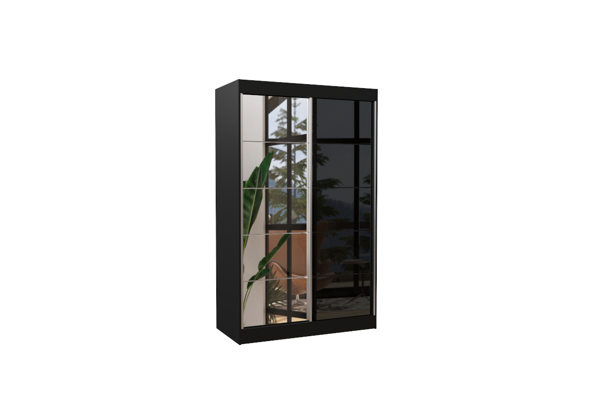 Posuvná skříň se zrcadlem TOKIO, 120x200x58, černá