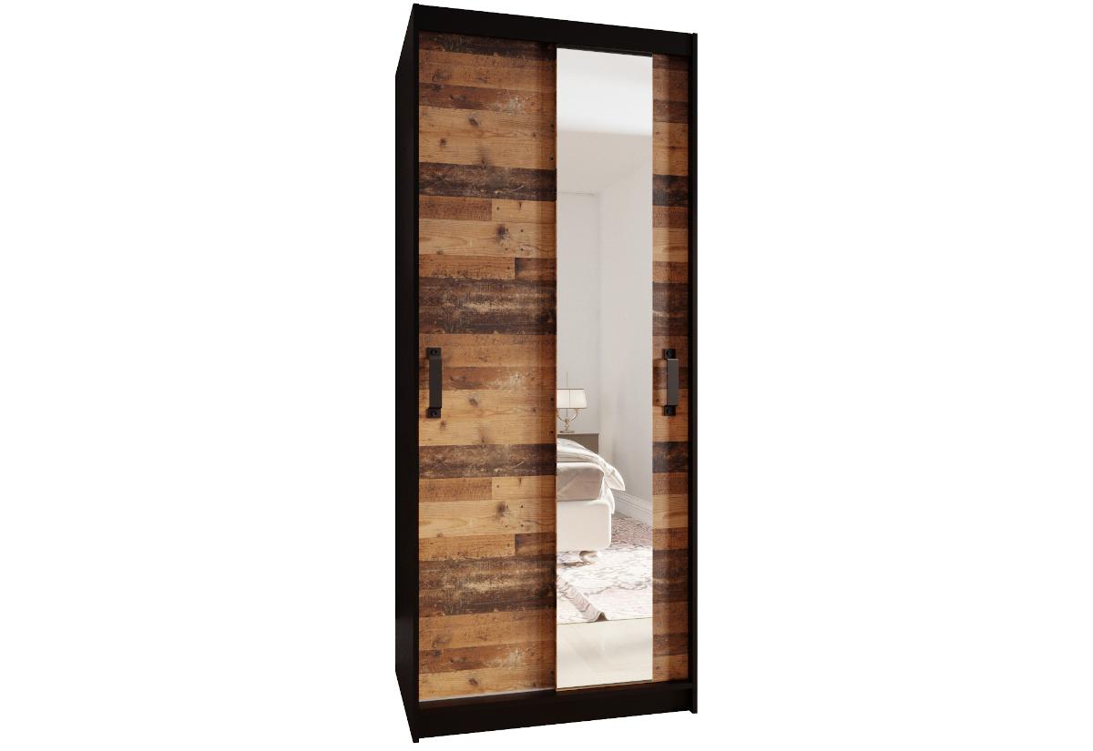 Šatní skříň PLAY 90 se zrcadlem, 90x200x45, černá/old style tmavý