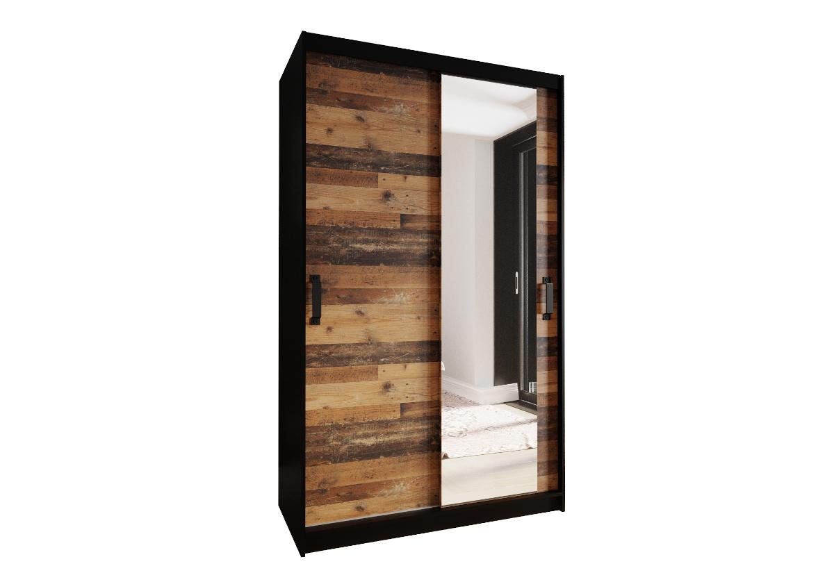 Šatní skříň PLAY 130 se zrcadlem, 130x200x45, černá/old style tmavý